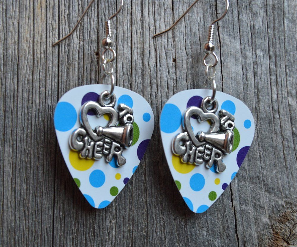 I Heart to Cheer Charm Guitar Pick Earrings - Pick Your Pattern by ItsYourPick on Etsy