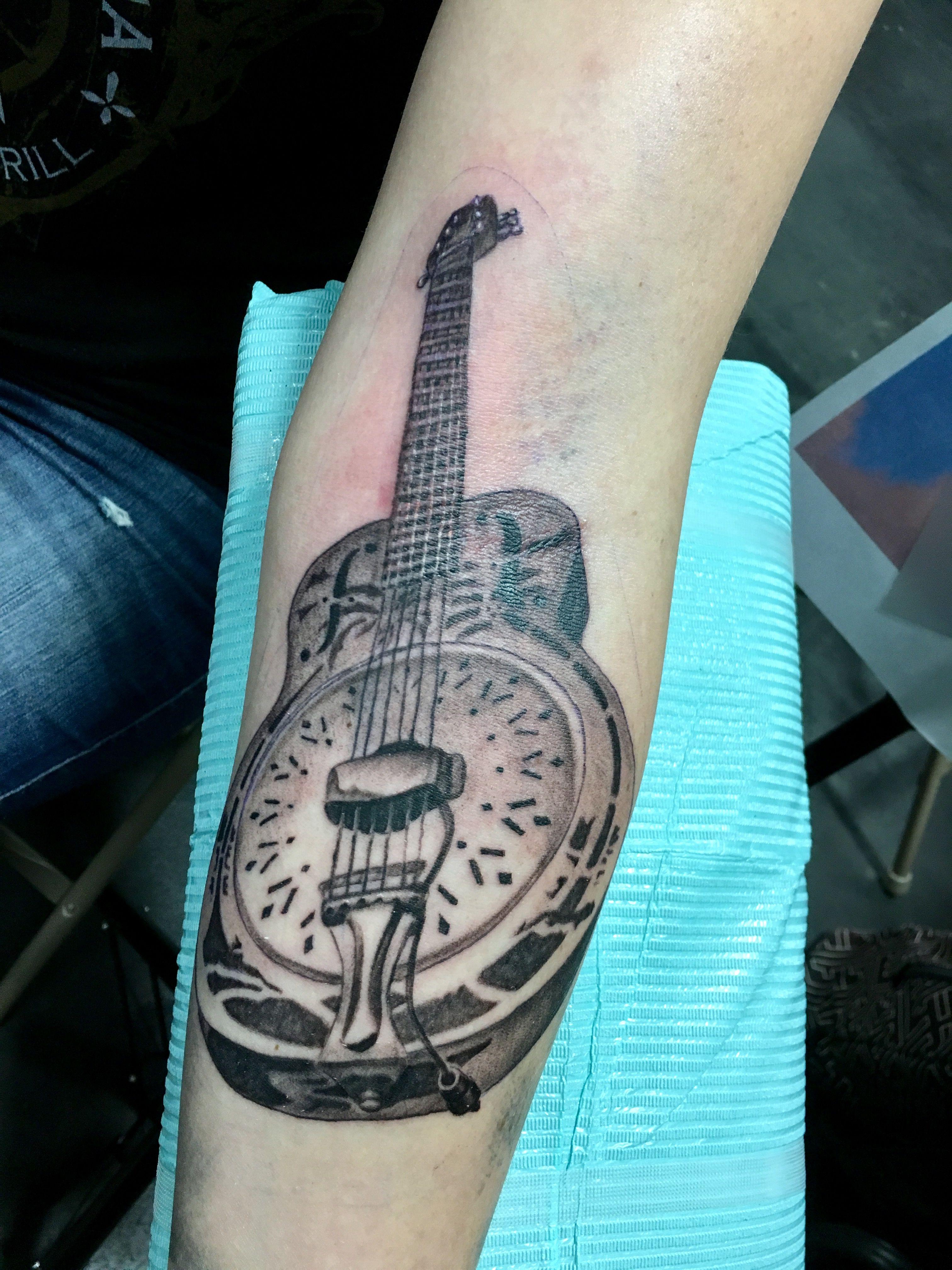 dire straits guitar tattoo realism black tattoos