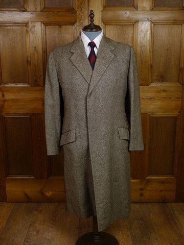 Vintage Savile Row Bespoke Brown Twill Overcoat 40