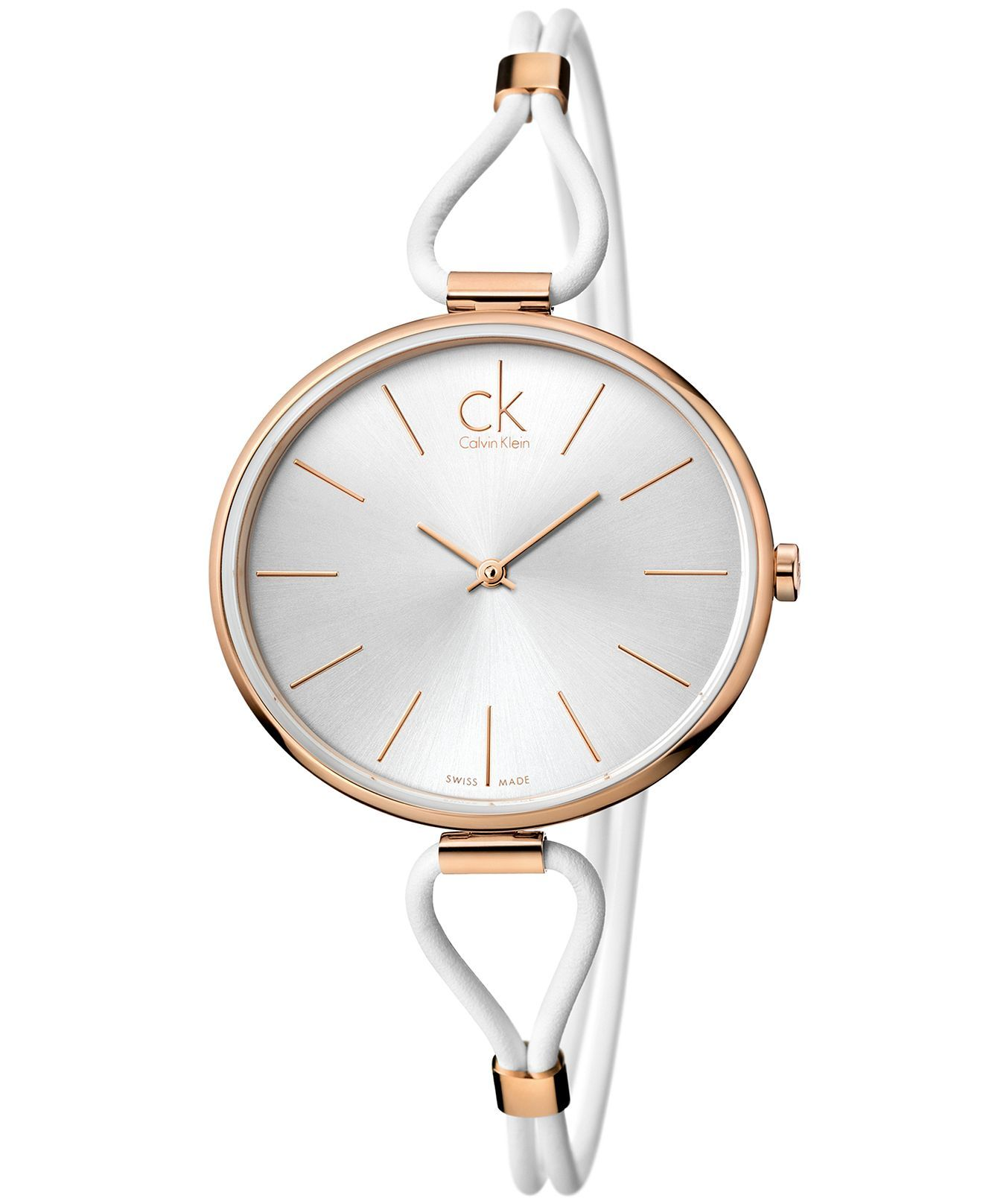 8a4ce98476 ck Calvin Klein Watch, Women's Swiss Selection White Leather Cord ...