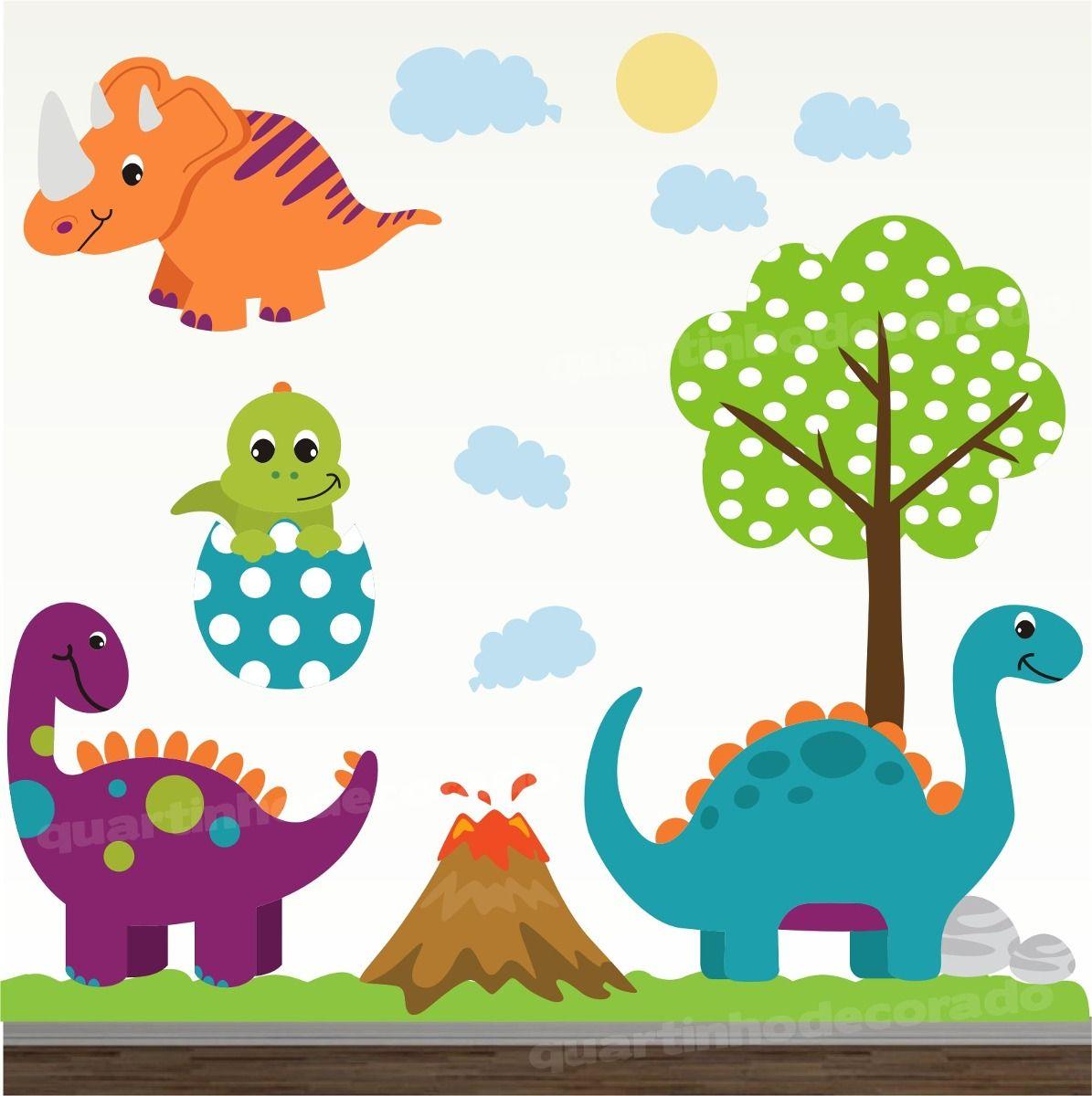 4c4bb79aac6486 Adesivo Quarto Bebe Dinossauro Zoo Safari Decorativo Parede - R$ 148 ...