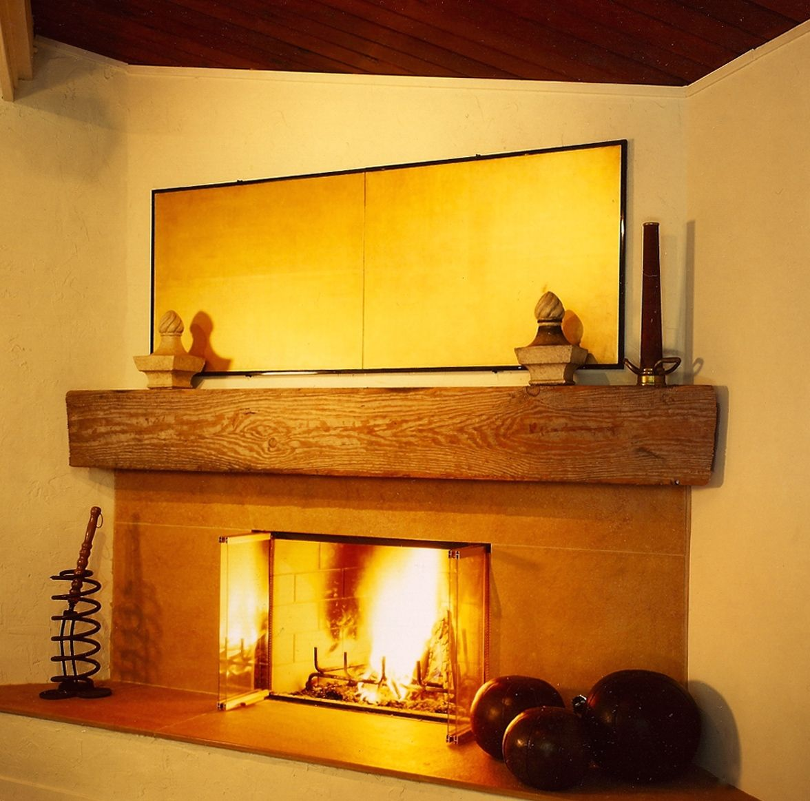 Orinda, Corner Neo angle Fireplace  2 Mantle salvaged from