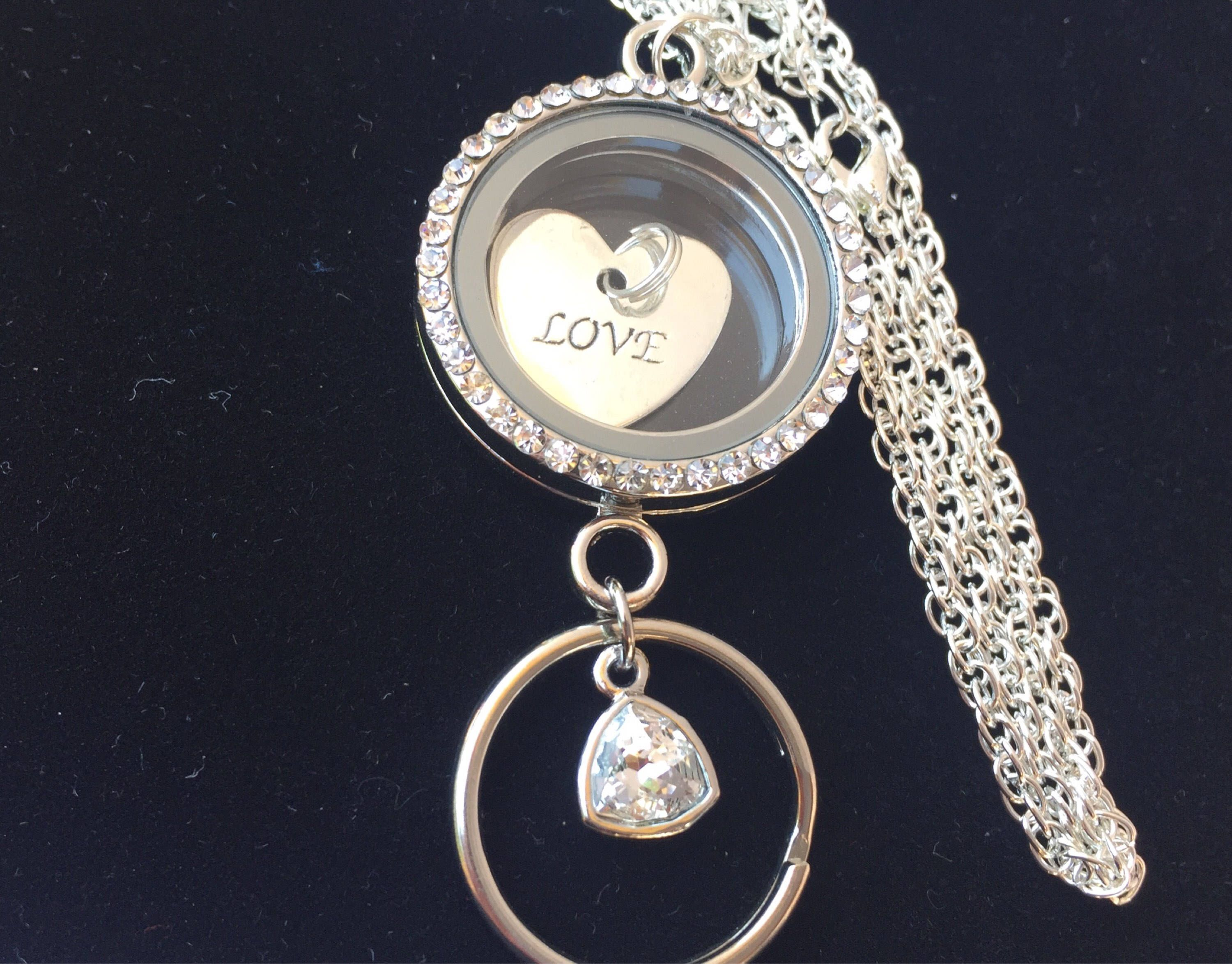 pendant locket gold with floating on diamante shop large away chain circular lockets