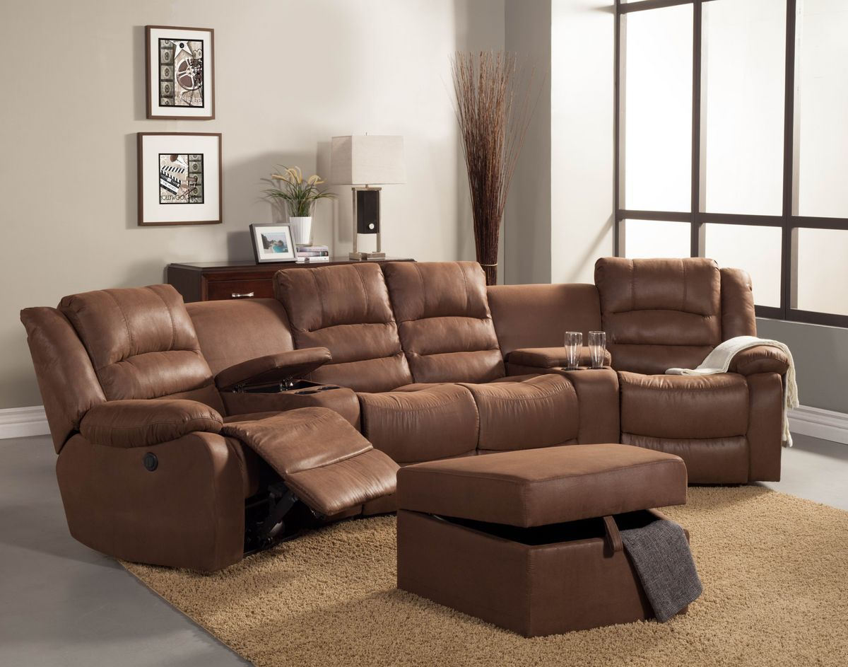 5 pc Tucker collection brown bomber jacket microfiber upholstered power  motion theater seating sectional sofa set