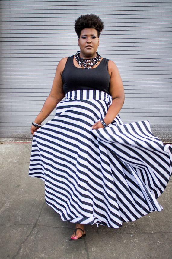 Plus Size Maxi Skirt Stripes plus size High by ...