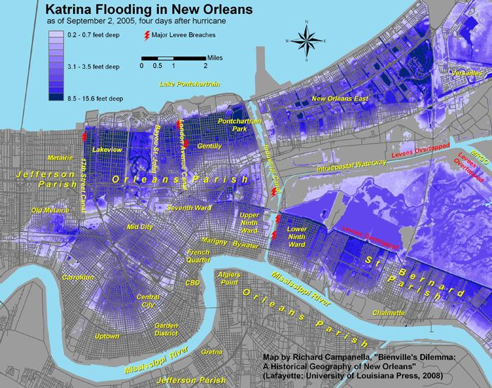flood map new orleans Flood Map After Hurricane Katrina Hurricane Katrina New Orleans flood map new orleans