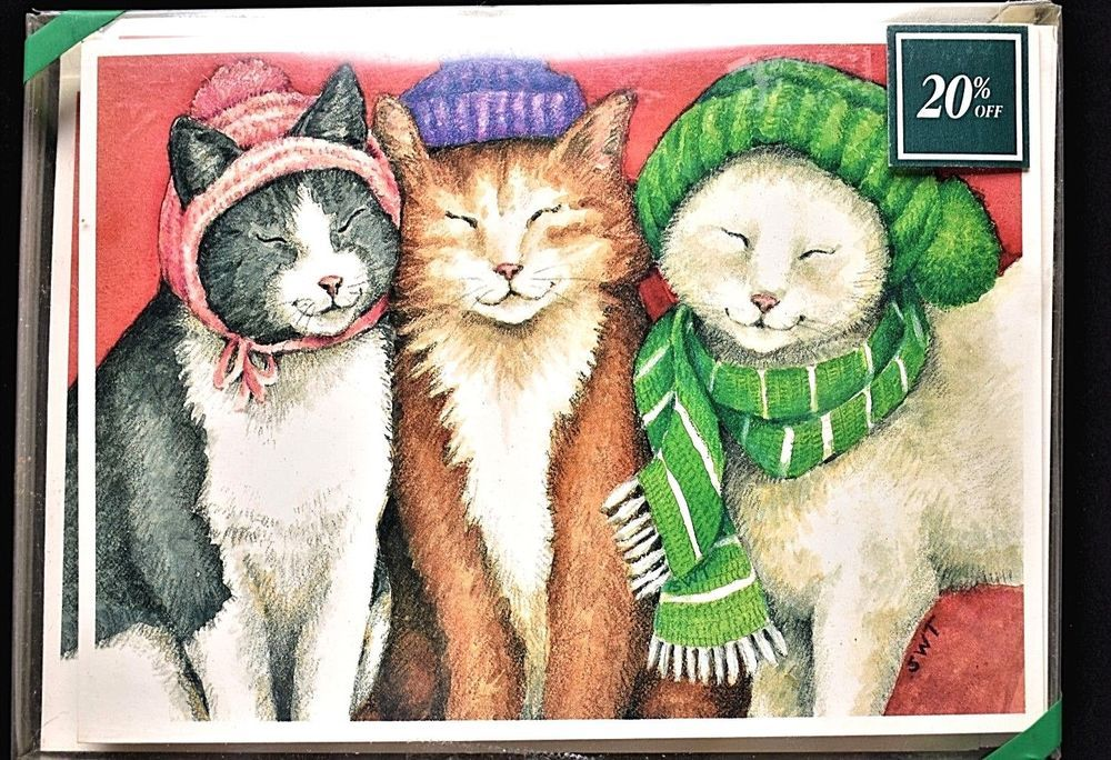 cat trio christmas holiday greeting cards allport editions made in