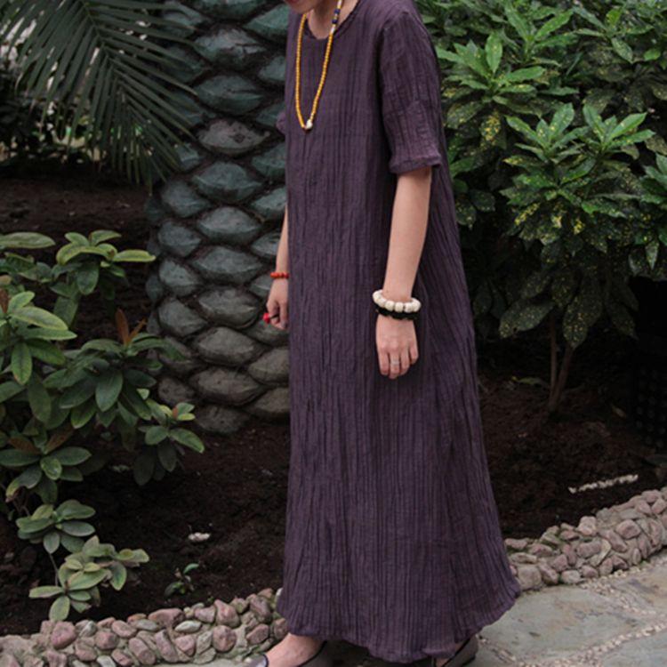 2014 New Original Design 100% Linen Floor-Length Long Shift Dress For Summer O-Neck Short Sleeve Solid Color Deep Purple $77.00