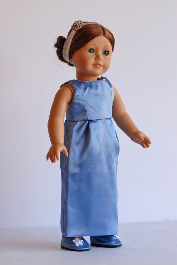 Blue satin dress by BonjourTeaspoon on Etsy. Made with the 5th Avenue Promenade Dress pattern. Get it at http://www.pixiefaire.com/products/5th-avenue-promenade-dress-18-doll-clothes. #pixiefaire #5thavenuepromenadedress