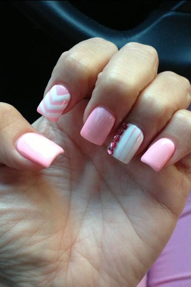 Nail Idea For The Baby Shower It S A Girl Nails White Nails