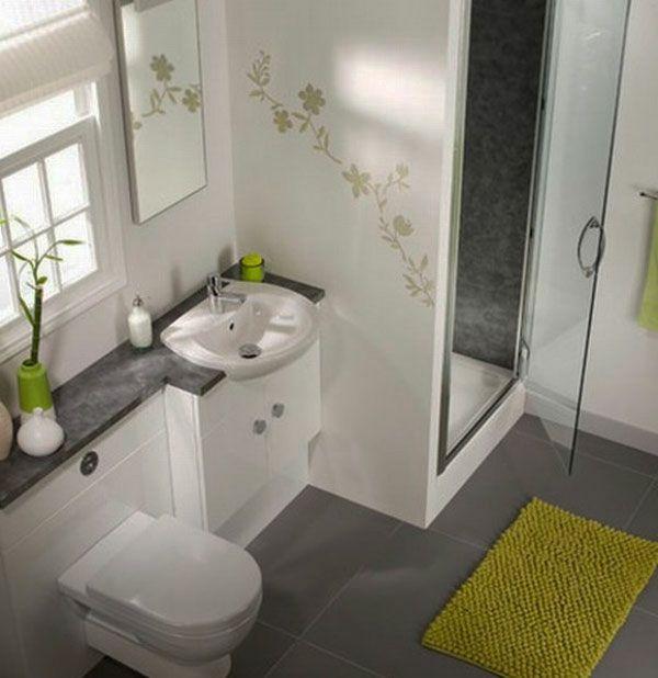 baddesign mit blumen bemalung an der wand - 77 Badezimmer-Ideen