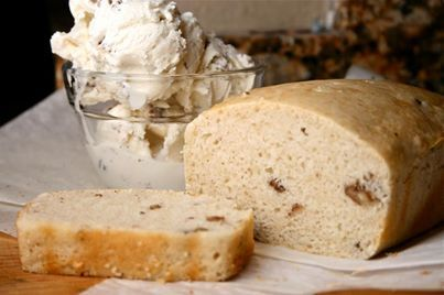 ICE CREAM BREAD 2 Cups Ice Cream, any flavor, softened 1 1/2 cups Self-Rising Flour  Preheat oven to 350. Spray and flour a 8 x 4 loaf pan, or line it with parchment paper. Mix the ice cream and flour together until just combined. Scoop into the loaf and smooth out.  Bake for about 45 minutes or until a toothpick stuck in the loaf comes out with a few crumbs stuck to it.  Remove from the pan and allow to cool.  For best results..use full fat ice-cream!