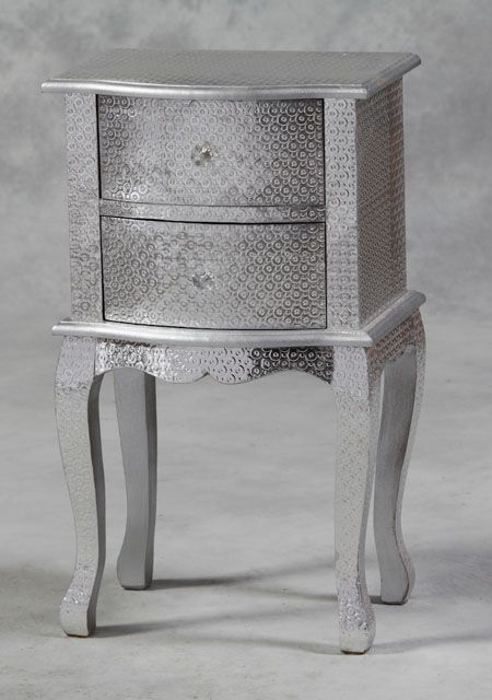 Mirror And Painted Bedside Table: Circle Pattern Silver Embossed Bedside Cabinet 99 (With
