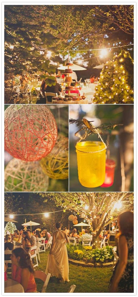 Coloured mason jars and twine balls. Cute shabby chic accents with the mason jars and the string balls. Paper lanterns are a little more elegant, but it definitely depends on the look you're going for.