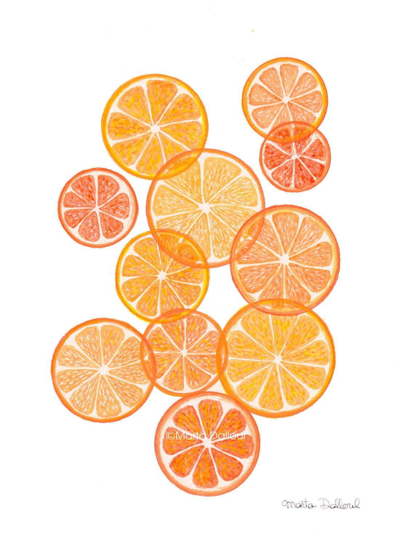 Orange Art Print Orange Fruit Modern Art Watercolor