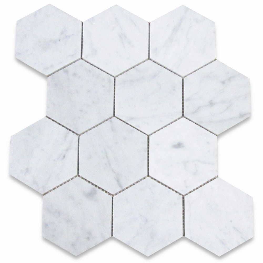 Italian Carrara White Marble 4 Inch Hexagon Mosaic Tile Honed Stone Center Online Hexagon Mosaic Tile Hexagonal Mosaic Hexagon Tile Floor