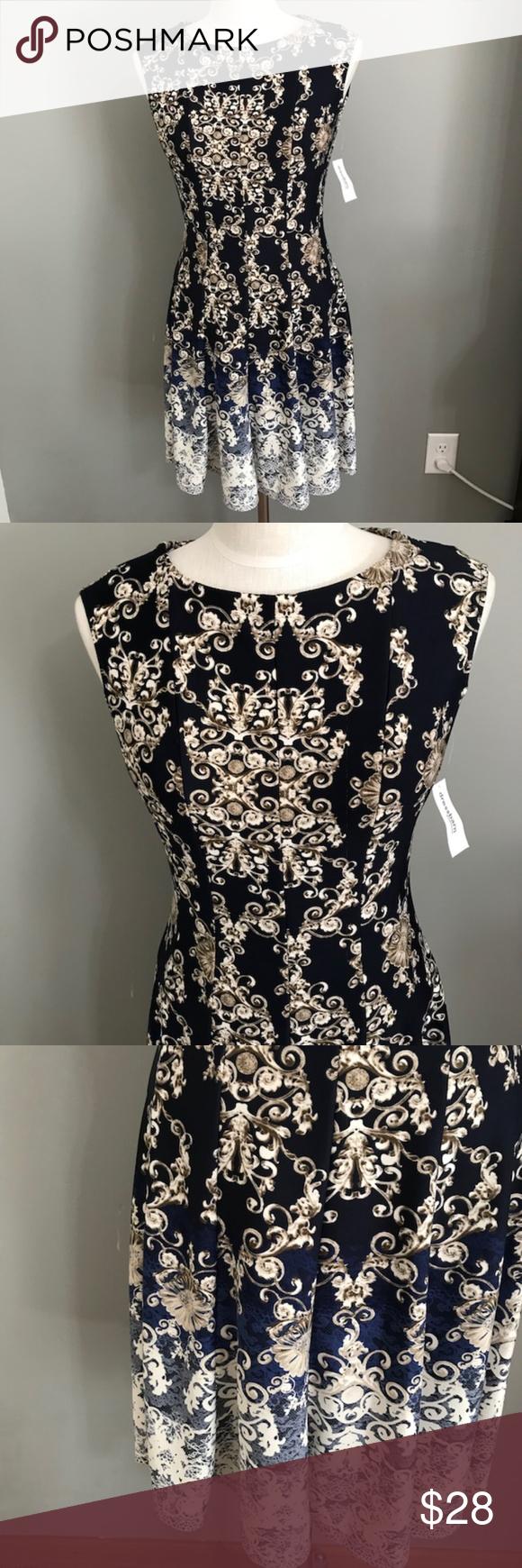 Sleeveless Nwt Blue Tan White Dress Size 6 Dresses Dress Barn Dresses Career Dress [ 1740 x 580 Pixel ]