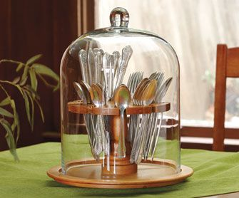 Glass Flatware Cloche u0026 Lazy Susan - NapaStyle : cloche tableware - pezcame.com