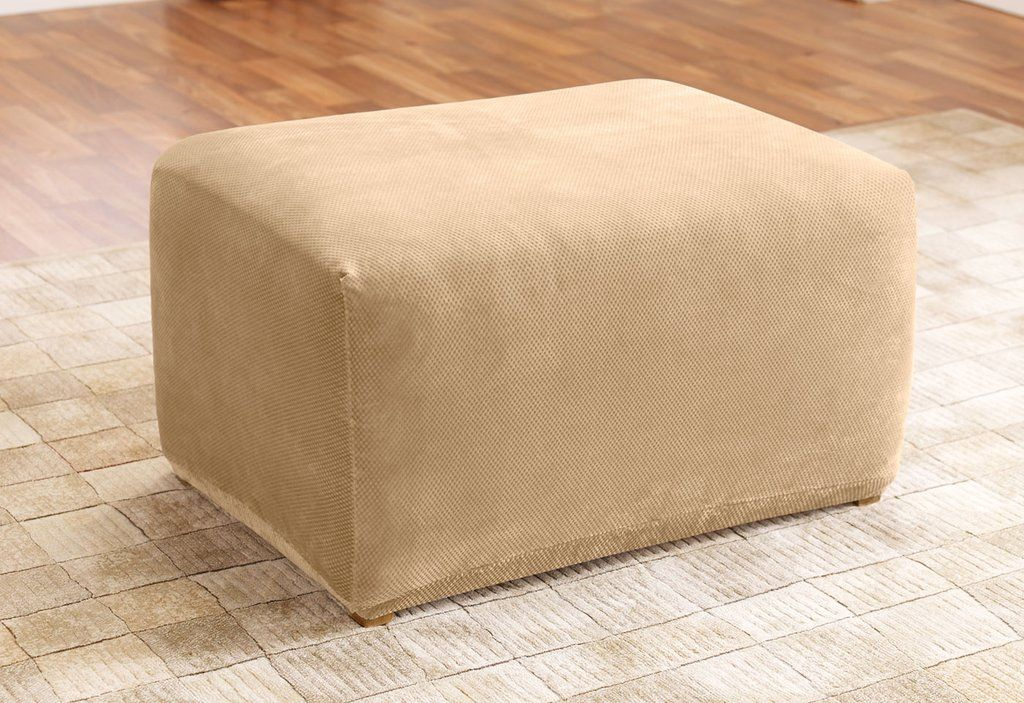 Stupendous Stretch Pique One Piece Ottoman Slipcover Slipcovers For Ncnpc Chair Design For Home Ncnpcorg