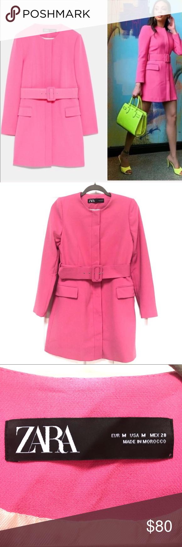 HOST PICK NWT ZARA Belted frock coat in pink ZARA Belted
