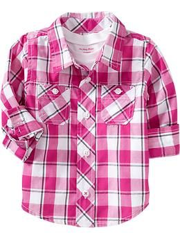 Plaid Shirts for Baby | Old Navy - it is hard to find shirts for Pink Shirt Mondays for Noa. This would work.
