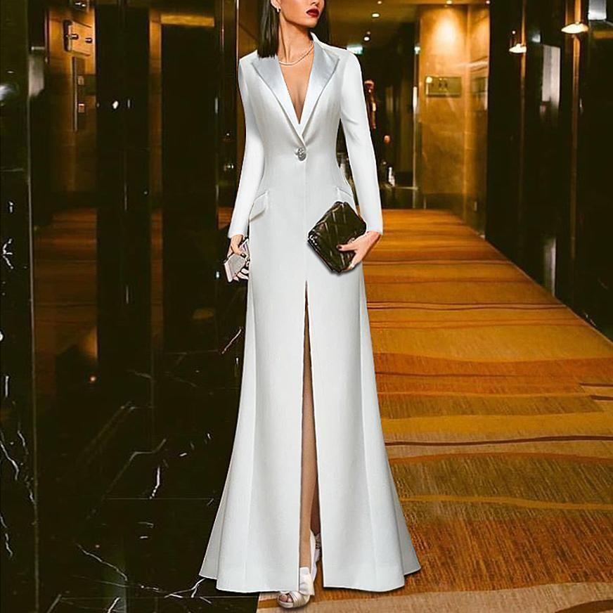 White Suit Evening Dress #bridalshops