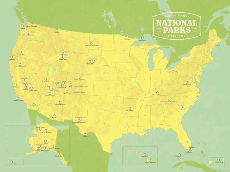 US National Parks Map X Poster Products Pinterest - Us national parks map