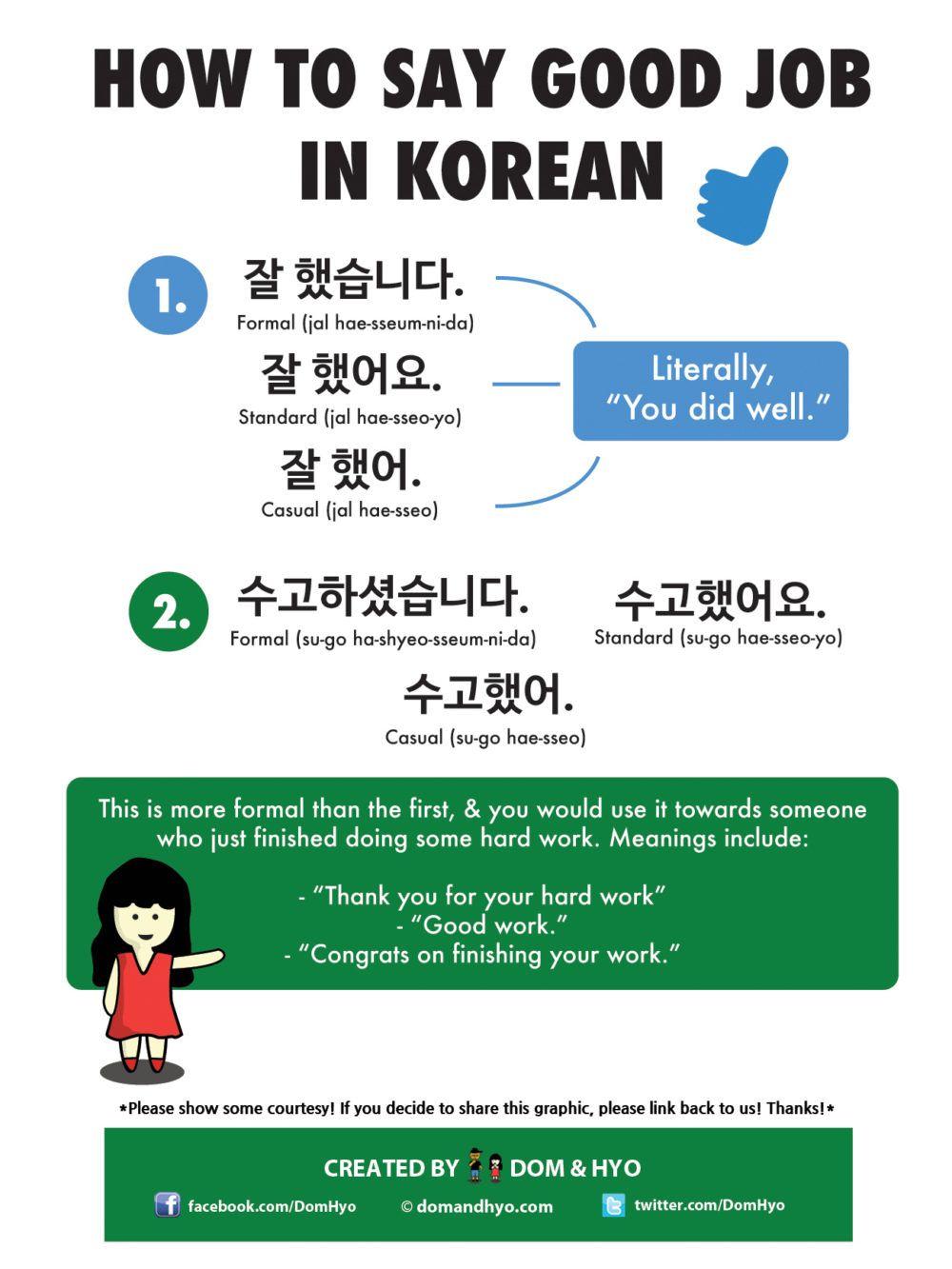 How to say good job in korean korean language learning
