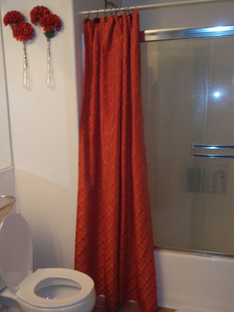 shower curtain to cover up ugly glass shower doors bathrooms rh pinterest com