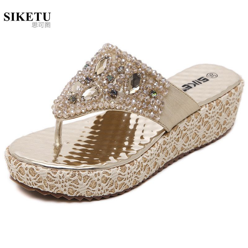Lady Women Bling Slipper Flip Flop Glitter Rinestone Platform Wedge Summer Shoes