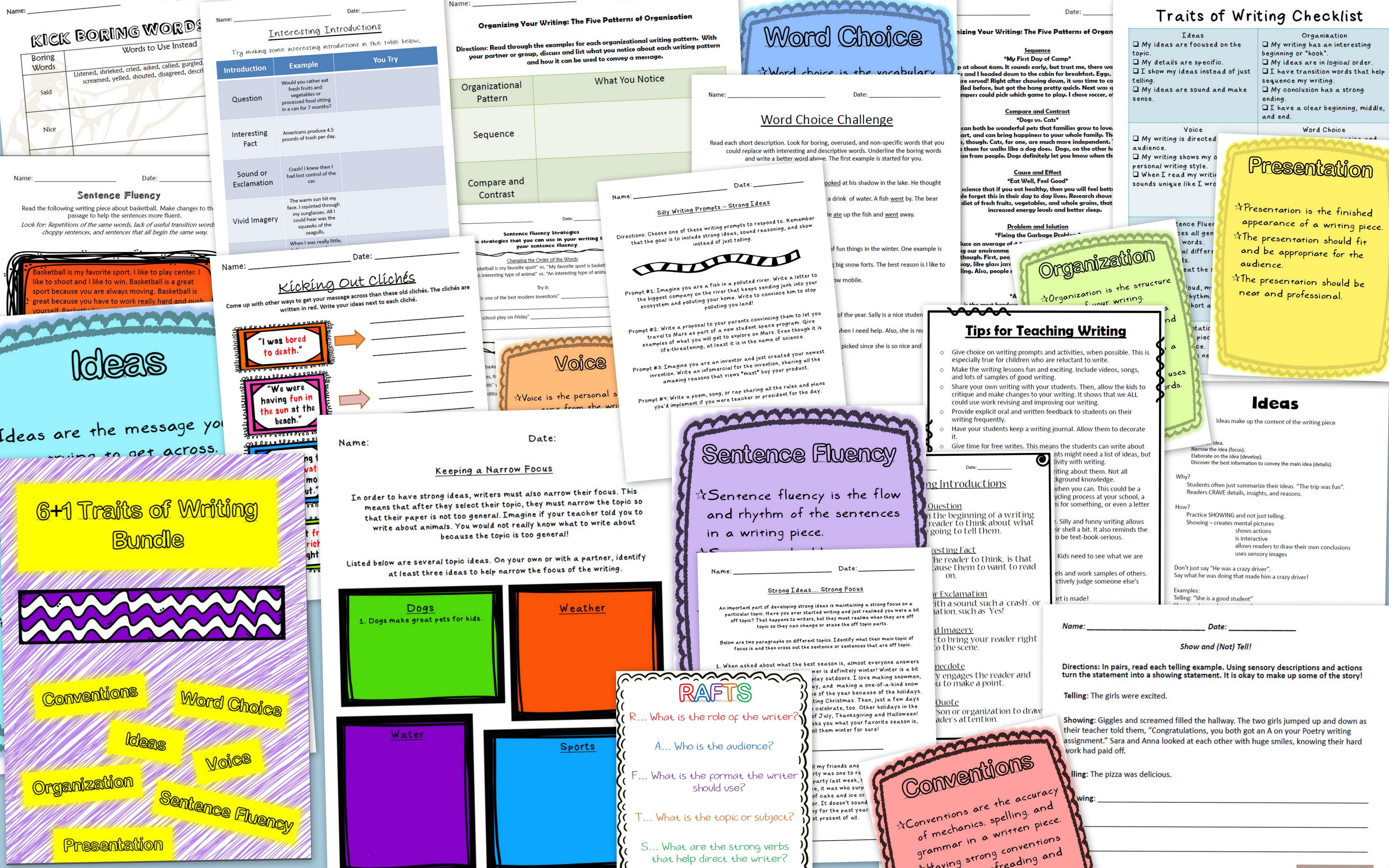 6 1 Traits Of Writing Worksheet Amp Activity Bundle
