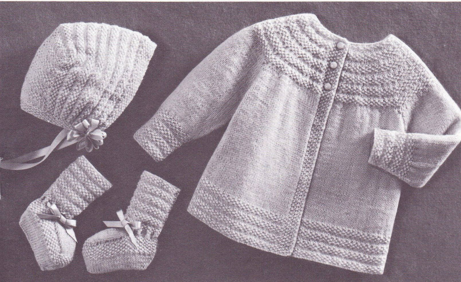 Moss Stitch Set for 6 Months, Jacket, Bonnet, Booties, PDF Digital ...