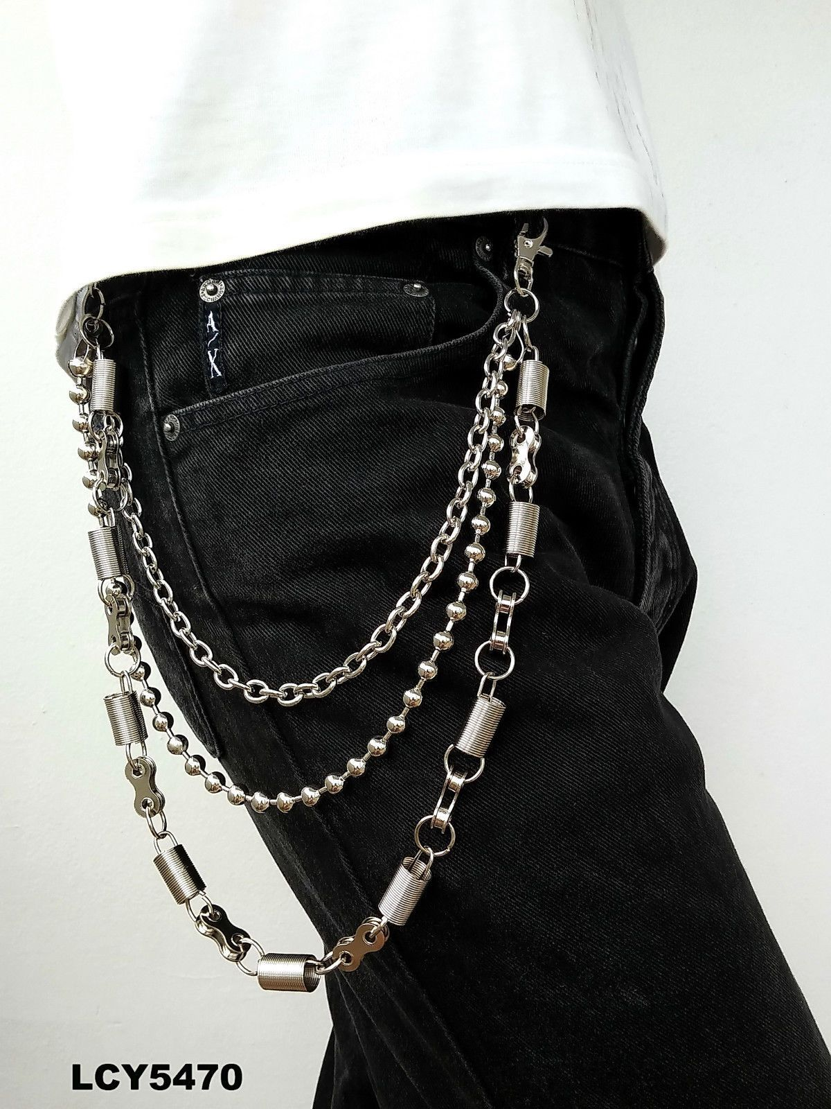 New Punk Rocker Silver Metal 3 Strands Biker Motorcycle Wallet Chain Roll Belt | eBay