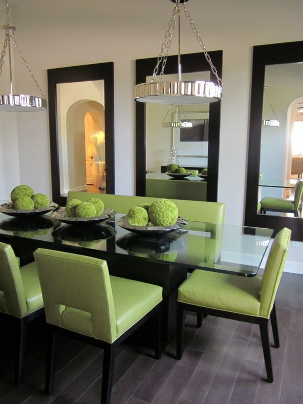 Comely Dining Room Decoration Idea With Large Wall Mirror In