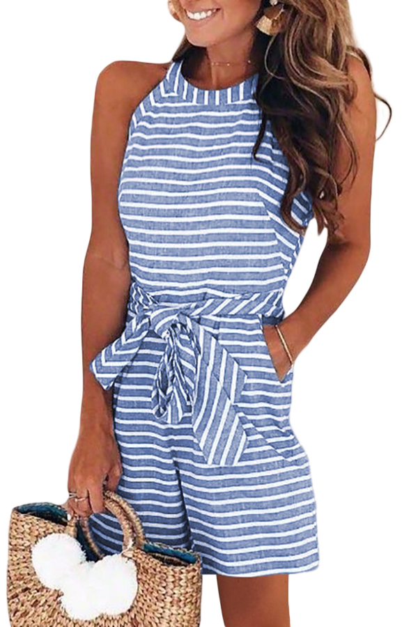 Wholesale Jumpsuits Rompers Cheap Sky Blue Striped Romper Online Lc64559 4 16 80 Jumpsuit Shorts Rompers Striped Rompers Fashion