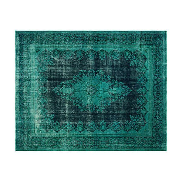 """Pre-Owned Persian Overdyed Carpet 9'10"""" x 12'7"""" (965 KWD) ❤ liked on Polyvore featuring home, rugs, emerald, persian style area rugs, hand woven persian rugs, hand loomed rug, persian style rugs and hand woven rugs"""