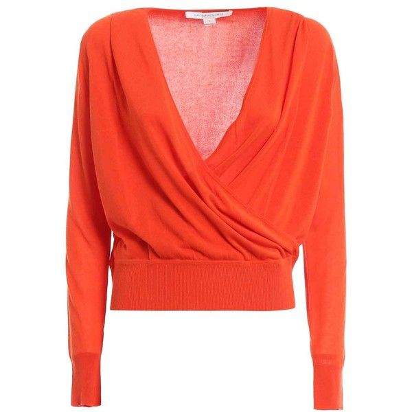 diane-von-furstenberg-paz-cotton-blend-wrap-sweater (205 CAD) ❤ liked on Polyvore featuring tops, sweaters, orange, wrap sweater, red wrap sweater, red top, orange sweater and orange top