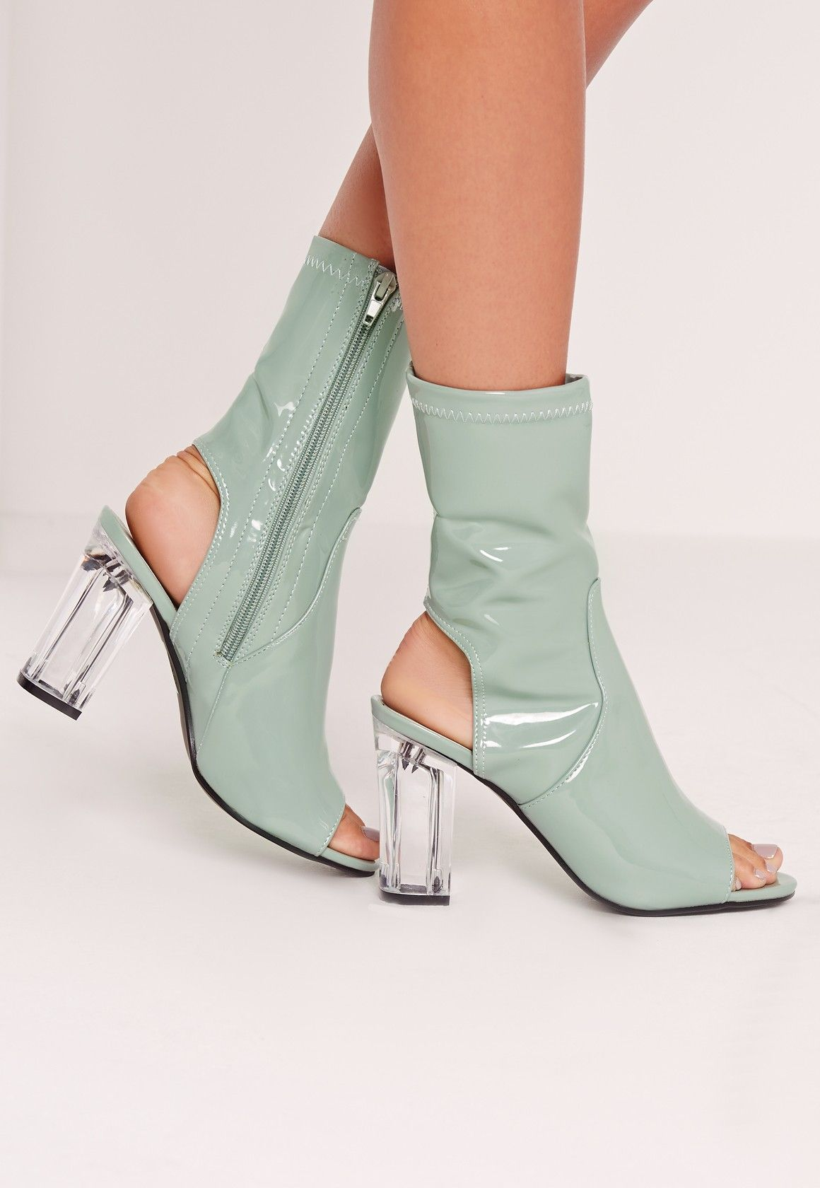 ff0fdfe9342 Missguided - Patent Peep Toe Perspex Block Heel Ankle Boots Green ...
