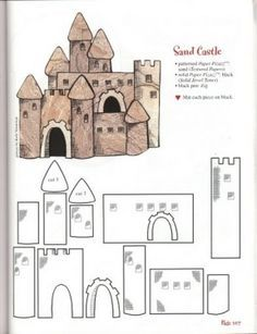 Playful image inside printable castle template