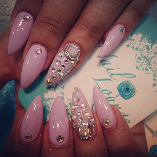 pink crystal studded nails