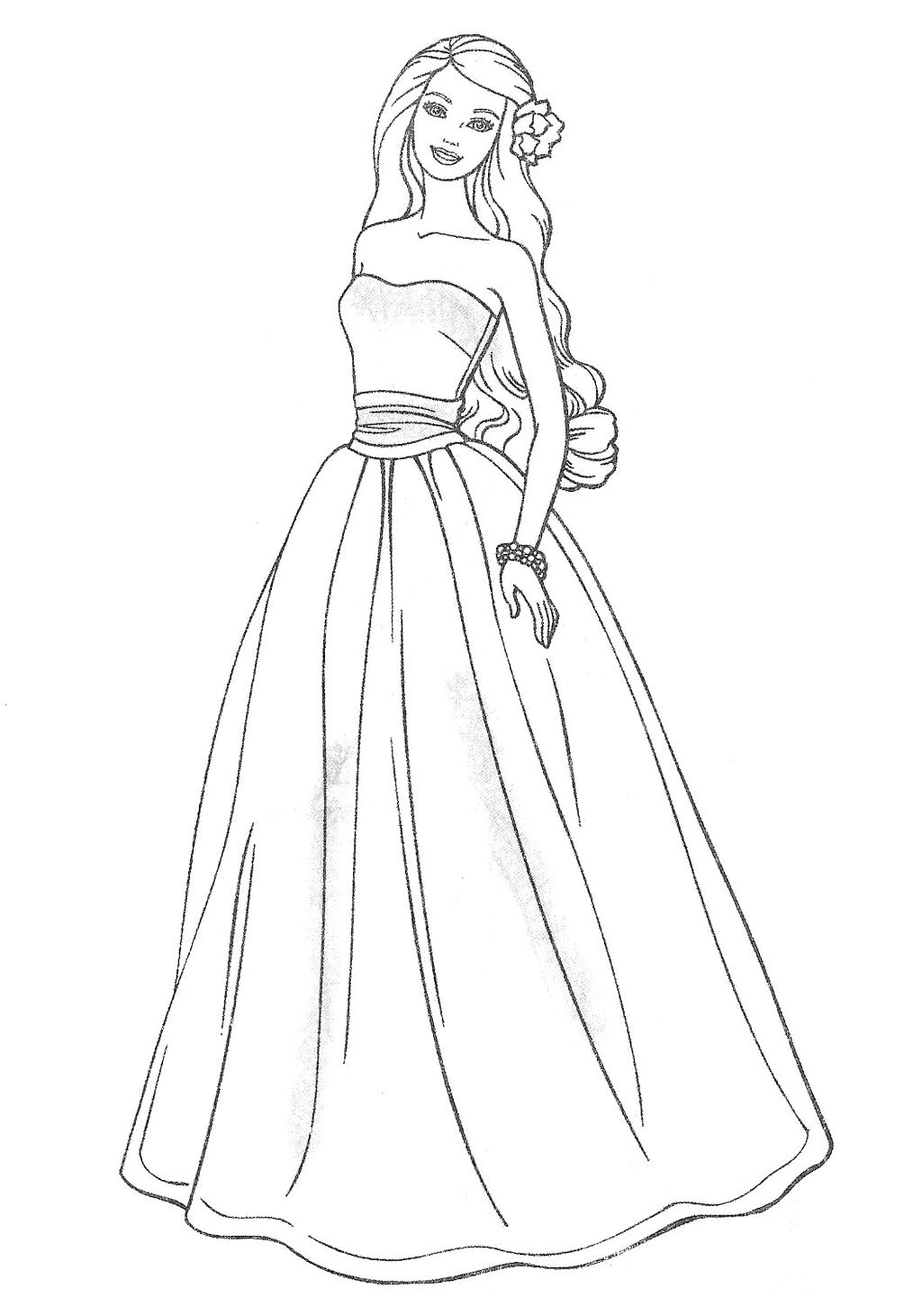 Barbie Doll Wearing A Party Dress Coloring Pages With