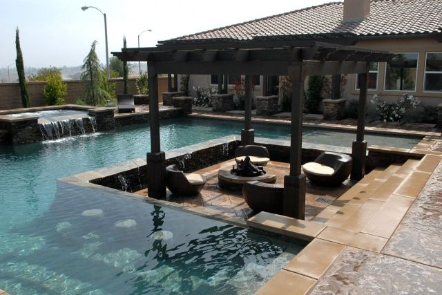 Water you having these home pools feature swim up bars for Pool design with bar