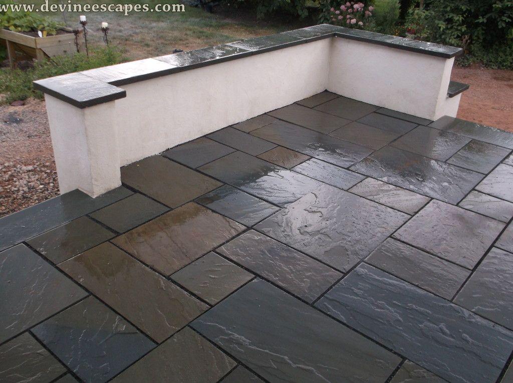 Masonry Porch Flagstone And Stucco Flagstone Patio Design Flagstone Patio Concrete Patio Cost