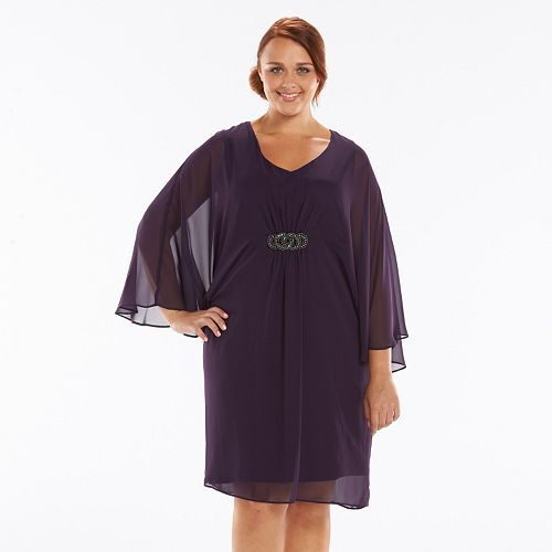 Plus Size Connected Apparel Embellished Chiffon Kimono Dress