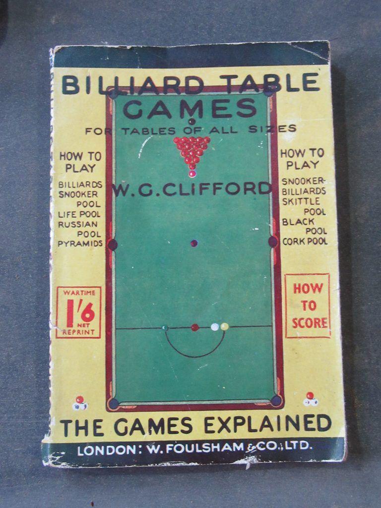 Vintage Billiard Table Games book Table games, Snooker