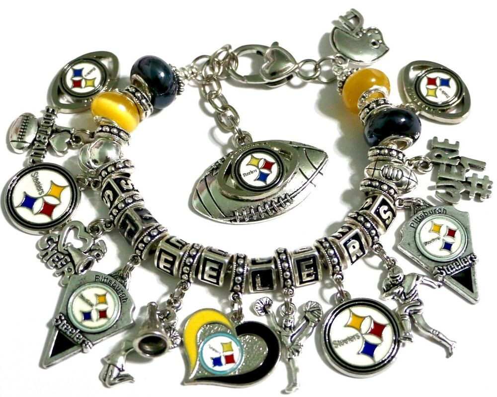 NFL Pittsburgh Steelers Pendant Charm for European Charm Bracelet or Necklace.
