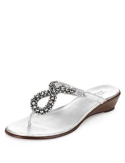 Leather Assorted Bead Wedge Sandals Clothing