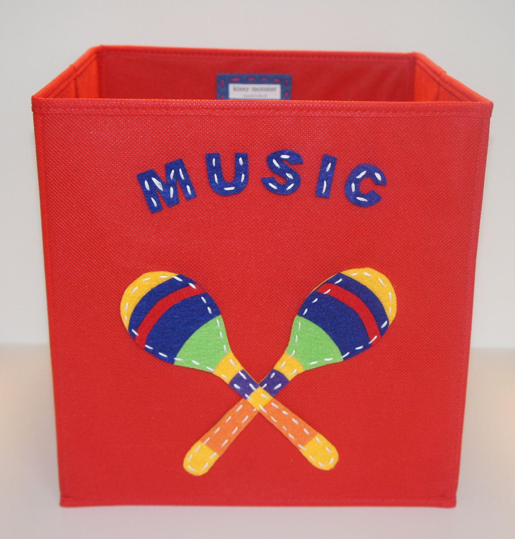 Kids Storage Bin, Storage Basket, Playroom Storage, Red, Music. $30.00, via Etsy.