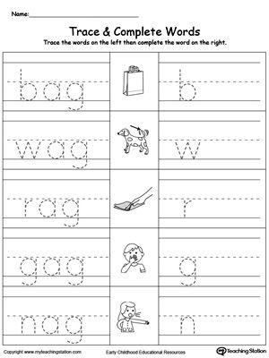 Ag Word Family Workbook For Kindergarten Word Family Worksheets Kindergarten Word Families Word Families Free kindergarten worksheets word