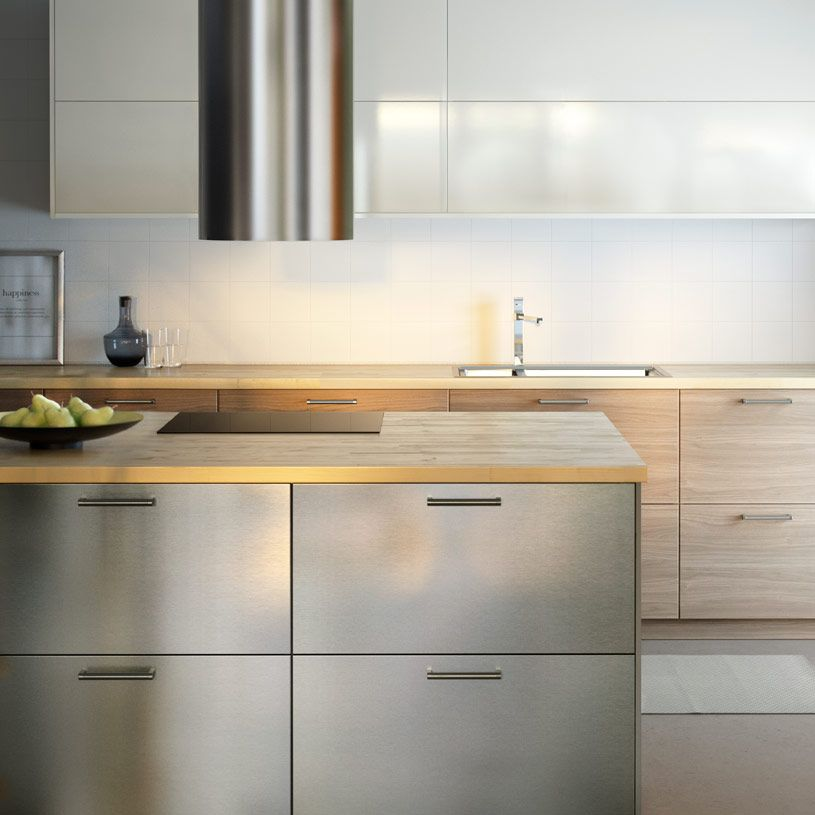 Light Wood Kitchen Worktops: Modern IKEA Kitchen With Wooden Worktops And A Combination